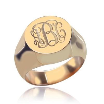 CIrcle Designs Signet Monogram Initial Ring Rose Gold - The Handmade ™