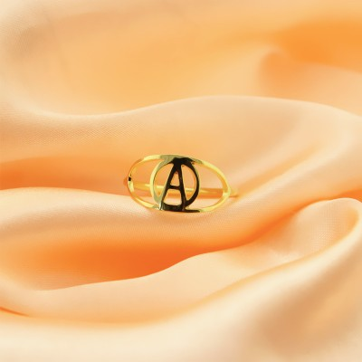 Personalised Eye Rings with Initial Gold - The Handmade ™