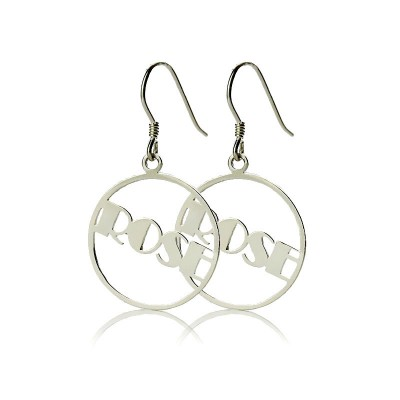 Silver Broadway Font Circle Name Earrings - The Handmade ™
