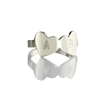 Double Heart Ring Engraved Letter Silver - The Handmade ™