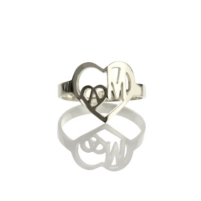 Heart in Heart Double Initials Ring Silver - The Handmade ™
