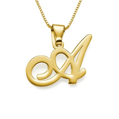 Gold or Initials Pendant With Any Letter - The Handmade ™