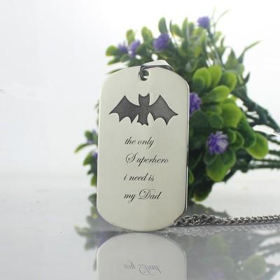 Man's Dog Tag Bat Name Necklace - The Handmade ™