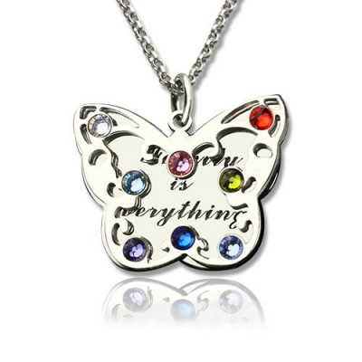 Birthstone Butterfly Necklace Silver - The Handmade ™