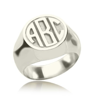 Personalised Signet Ring with Block Monogram Silver - The Handmade ™