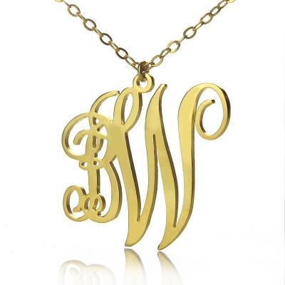 Personailzed Vine Font 2 Initial Monogram Necklace Gold - The Handmade ™