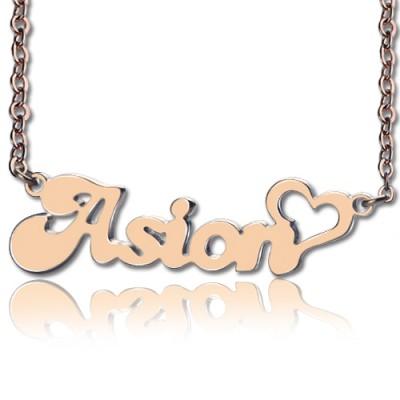BANANA Font Heart Shape Name Necklace Rose Gold - The Handmade ™