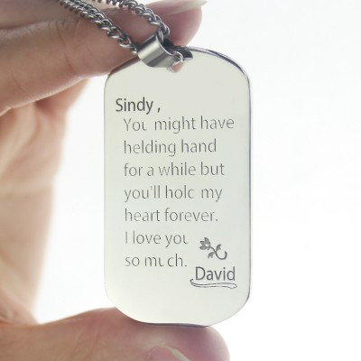 Man's Dog Tag Love and Family Theme Name Necklace - The Handmade ™