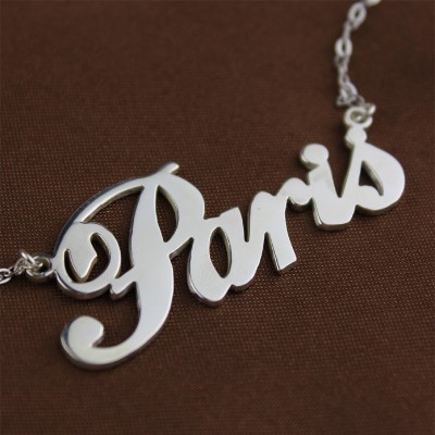 Paris Hilton Style Name Necklace White Gold - The Handmade ™