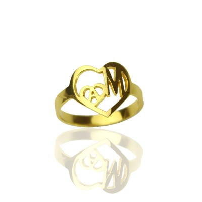 Personalised Heart in Heart Double Initial Ring Gold - The Handmade ™