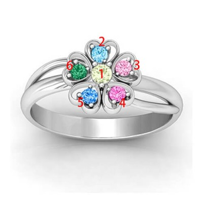 Birthstone Flower Promise Ring with Name Gold - The Handmade ™