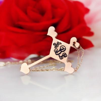Rose Gold Cross Monogram Necklace - The Handmade ™