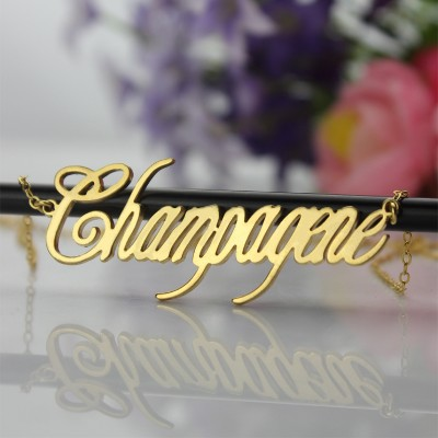 Gold Champagne Font Name Necklace - The Handmade ™