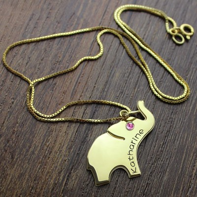 Elephant Lucky Charm Necklace Engraved Name Gold - The Handmade ™