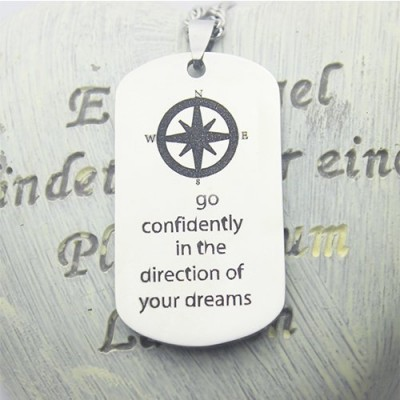 Compass Man's Dog Tag Name Necklace - The Handmade ™