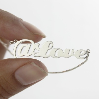 Twitter At Symbol Name Necklace Silver - The Handmade ™