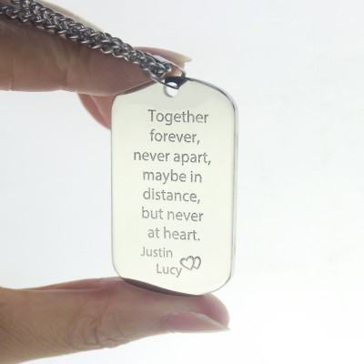 Man's Dog Tag Love Theme Name Necklace - The Handmade ™