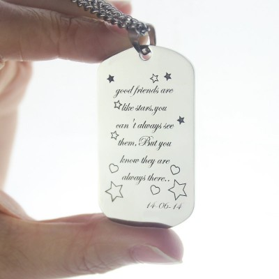 Best Friends Gift Dog Tag Name Necklace - The Handmade ™