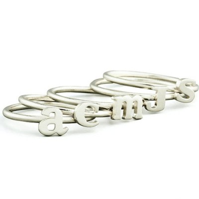 Personalised Women's Midi Initial Ring Silver - The Handmade ™
