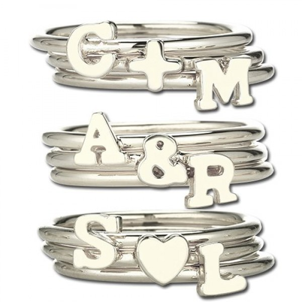 Stackable Midi Initial Ring Silver - The Handmade ™