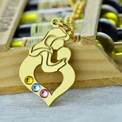 Mother Child Necklace with Birthstone - The Handmade ™