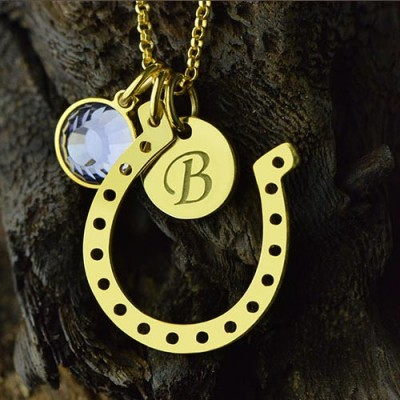 Birthstone Horseshoe Lucky Necklace with Initial Charm Gold Plate - The Handmade ™