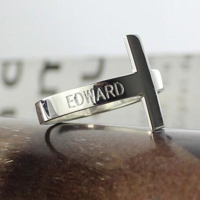Engraved Name Cross Rings Silver - The Handmade ™