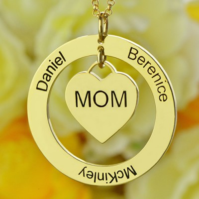 Family Names Necklace For Mom Gold Plating - The Handmade ™
