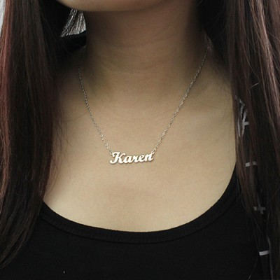 White Gold Karen Style Name Necklace - The Handmade ™