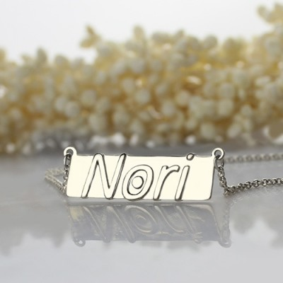 Nameplate Bar Necklace Silver - The Handmade ™