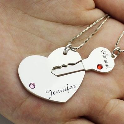 Key to My Heart Name Pendant Set For Couple - The Handmade ™