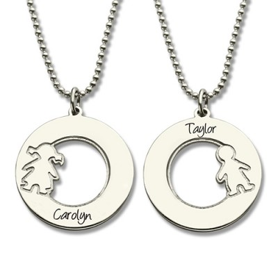 Circle Necklace With Engraved Children Name Charms Silver - The Handmade ™