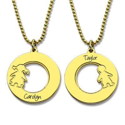Circle Necklace Engraved Children Name Charms - The Handmade ™