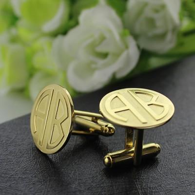 Cufflinks for Men with Block Monogram Gold - The Handmade ™