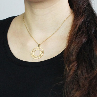 Gold Roman Numeral Disc Necklace - The Handmade ™