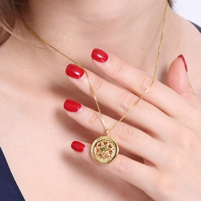 Hearts Around Necklace with Birthstone Gold - The Handmade ™