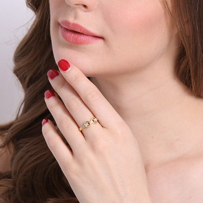Gold Infinity Promise Rings with Birthstone - The Handmade ™