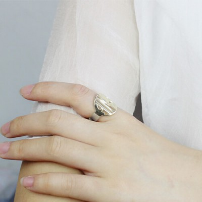 Personalised Cut Out Block Monogram Ring Silver - The Handmade ™