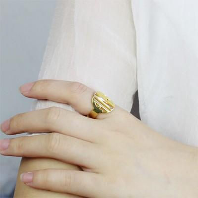 Personalised Block Circle Monogram Ring Gold - The Handmade ™