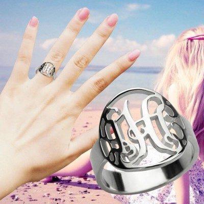 Cut Out Monogram Initial Ring Silver - The Handmade ™