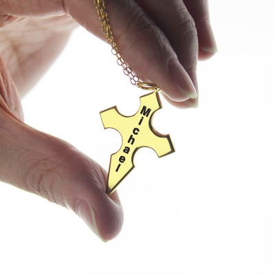 Conical Shape Cross Name Necklace - The Handmade ™