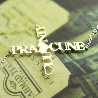 Two Name Cross Necklace Silver - The Handmade ™