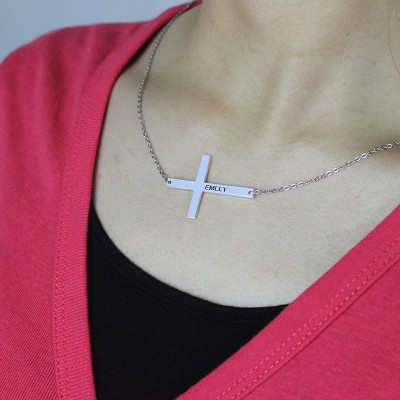 """Silver Latin Cross Necklace Engraved Name 1.25"""" - The Handmade ™"""