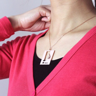 Personalised Rhode State Dog Tag With Heart Name Rose Gold Plate - The Handmade ™