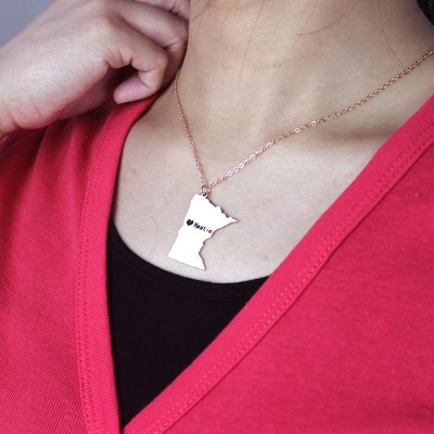 Minnesota State Shaped Necklaces With Heart Name Rose Gold - The Handmade ™