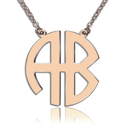 Two Initial Block Monogram Pendant Necklace Rose Gold - The Handmade ™