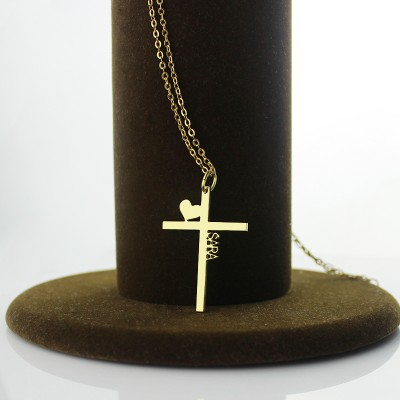 Gold Silver Cross Name Necklace with Heart - The Handmade ™