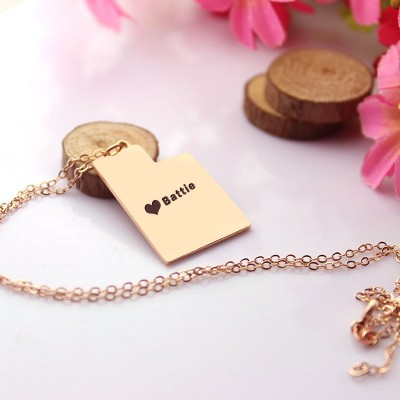 Utah State Shaped Necklaces With Heart Name Rose Gold - The Handmade ™