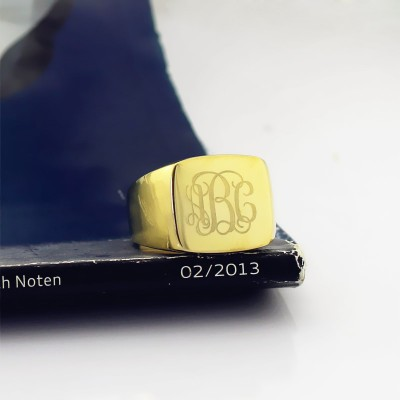Gold Fashion Monogram Initial Ring - The Handmade ™