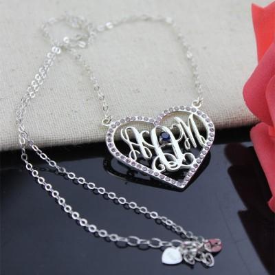 Silver Heart Birthstone Monogram Necklace - The Handmade ™